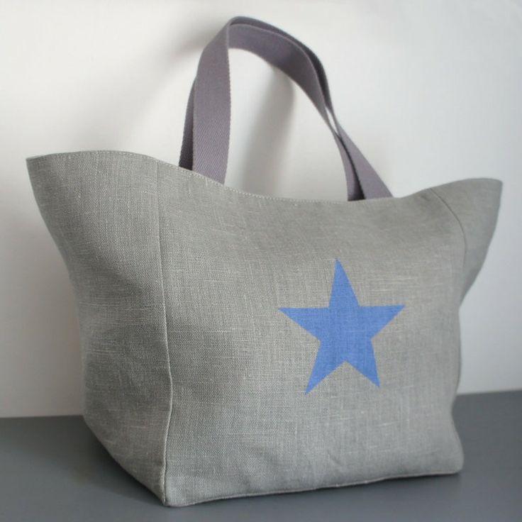 Sac cabas en lin naturel étoile grise - Doublure en lin – Gris Pastel