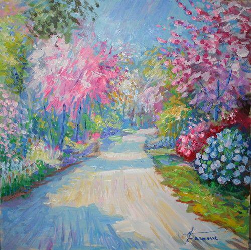 """""""Viale fiorito"""" Acrilico su tavola 43x43 Giuseppe Faraone Cod. 139"""