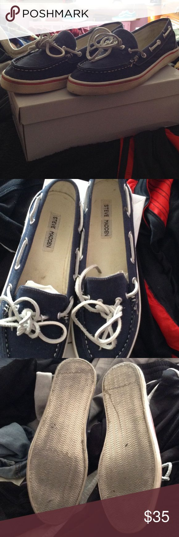 Navy boat shoes sale 👏🏼🍾🎊 These are great for the forth of July worn several times but still in good condition shoe is a little dirty inside and a little dirty in the back make them yours! Steve Madden Shoes Flats & Loafers