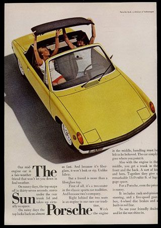 The fun of removing the top.  Of course I never took it off like this. LOL  Porsche 914 ad