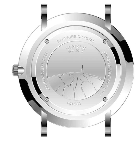 On the back of the case is mount Ulriken engraved. It says the altitude of the mountain and the first 500 will received a numbered limited edition of the watch.