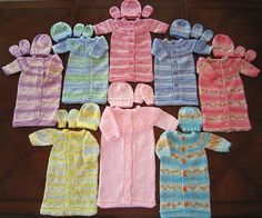 Knitting Pattern; Preemie & Newborn sleep sack, hand and mittens set . FREE…