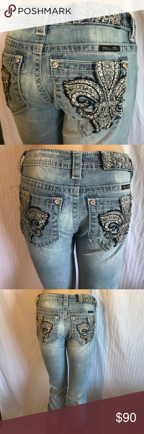 NWT Miss Me Rhinestone Signature Capri Cuffed New with tag. Style # JP7658P. Color LT BLU. Miss Me Signature Capri Cuffed Jeans. 93% cotton 6% polyester 1% elastane. Size 30. Waist laying flat 17'. Rise 8'. Inseam 23'. Size 28. Waist laying flat 16'. Rise 8'. Inseam 23'. Size 25. Waist laying flat 14'. Rise 7'. Inseam 23'. I do bundles also give me your best offer please check some of my items you might find what you are looking for in good quality and very affordable price Miss Me Jeans…