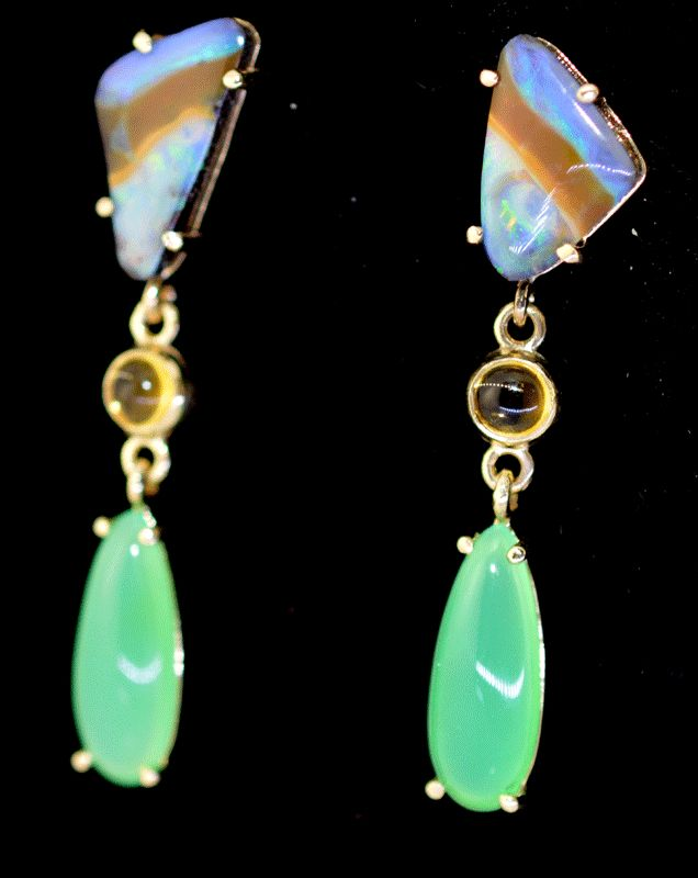 Solid opal, citrine and chrysoprase drop earrings in yellow gold