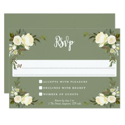 boho floral green wedding rsvp response card - reply diy cyo unique personalize customize
