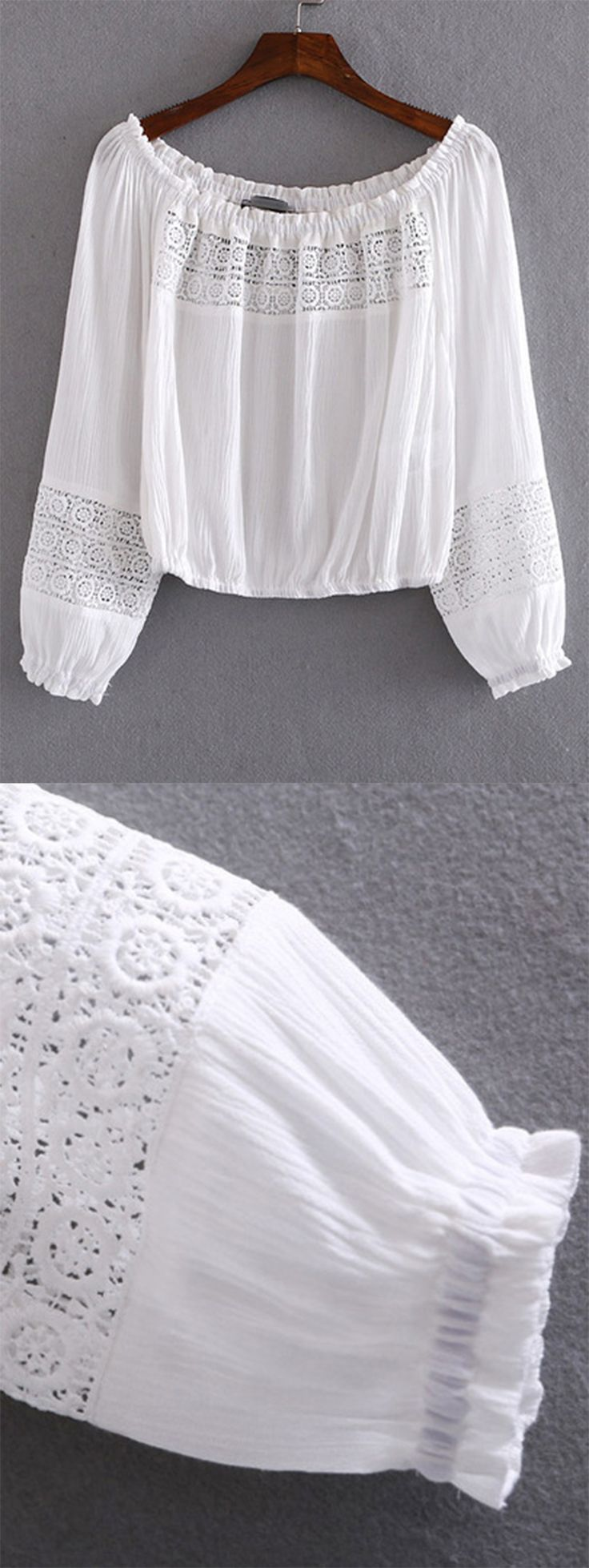 "White Boat Neck Elastic Cuff Crochet Blouse. Is this a really ""crochet"" blouse now? And if you like it, click to get it."