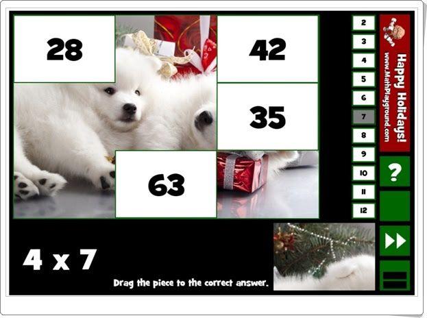 Holiday puzzle pics multiplication (Multiplicaciones de Navidad para Educación Primaria)