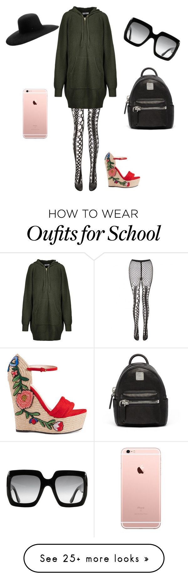 """""""Back to School"""" by disfan on Polyvore featuring Junya Watanabe, Sandro, Gucci, MCM and Maison Michel"""