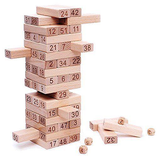 Classic Best Tumbling Towers Family Fun Games for Kids – 54 Pcs Gifts Ideas: ★ Meilleur jeu d'empilement pour des cadeaux de fête pour les…