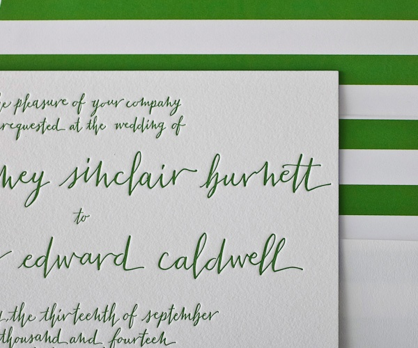 simple and sleek calligraphy letterpress wedding invitation by Bella Figura