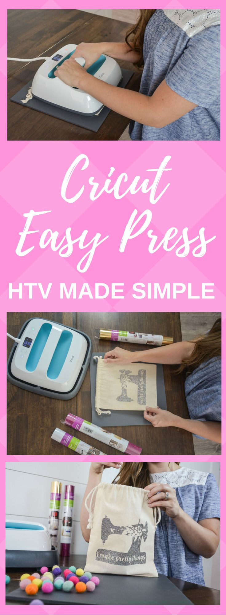 Cricut Easy Press makes HTV so simple with just the press of a button.