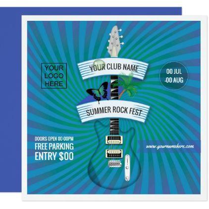 Summer Rock Festival add logo invitation - invitations custom unique diy personalize occasions