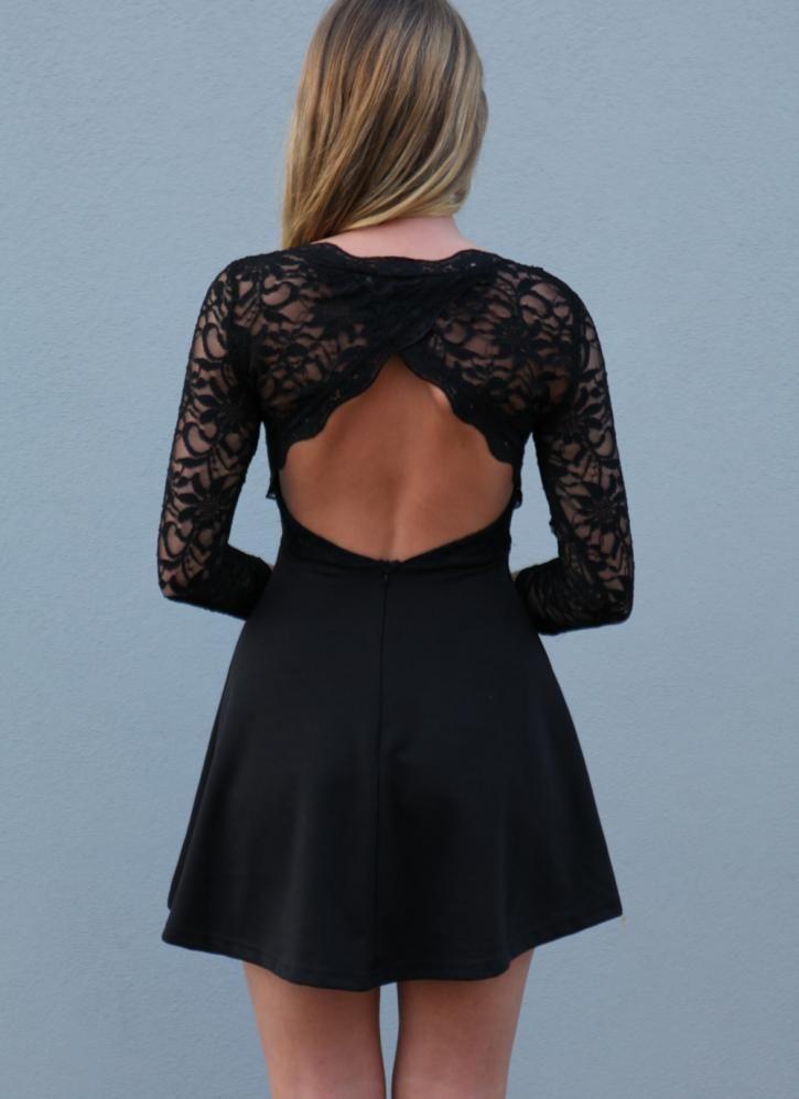 Black Little Black Dress - Black Lace Skater Dress with | UsTrendy