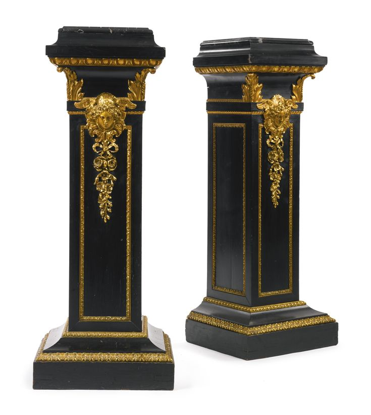 ♔ A PAIR OF LOUIS XVI STYLE GILT BRONZE MOUNTED EBONIZED PEDESTALS FRANCE, LATE 19TH CENTURY EACH SURMOUNTED BY A PORTOR MARBLE TOP.    https://www.pinterest.com/moonshooter1