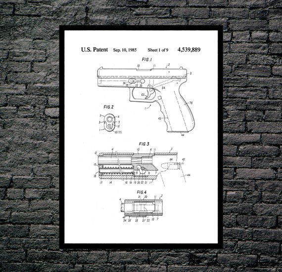 Glock Gun Poster, Glock Gun Pistol Patent, Glock Gun  Print, Glock Pistol Art, Glock Pistol Decor, Glock Pistol Blueprint, Revolver by STANLEYprintHOUSE  3.00 USD  This is a vintage patent print. The Wesson Revolver from 1898.  This poster is printed using high quality archival inks, and will be of museum quality. Any of these posters will make a great affordable gift, or tie any room together.  Please choose between different sizes and colors. ..  https://www.etsy.com/ca/listing/4..