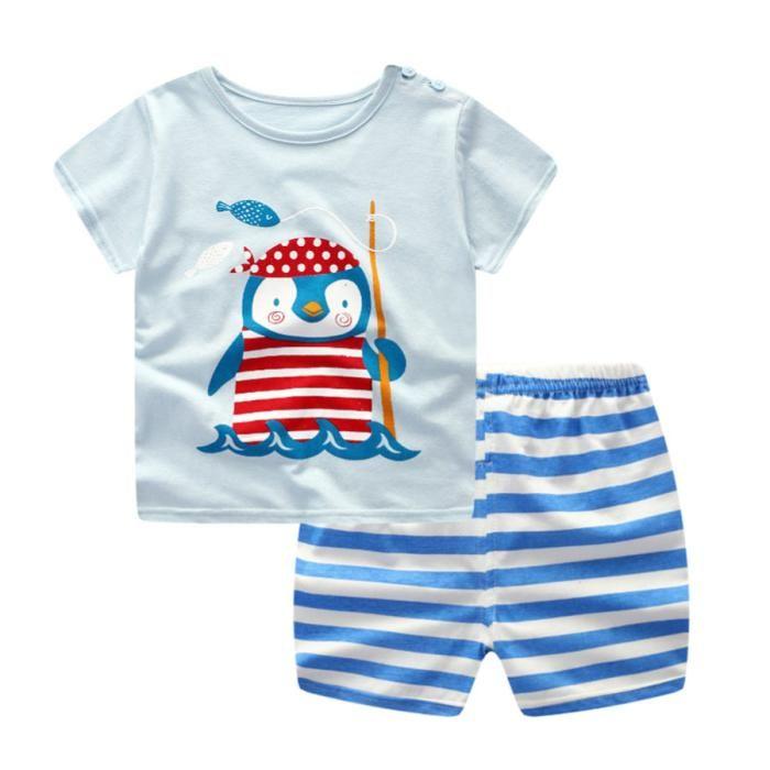 Newborn Infant Baby Boys Girls Cartoon Airplane Tops Shirt+Pants Outfits Set