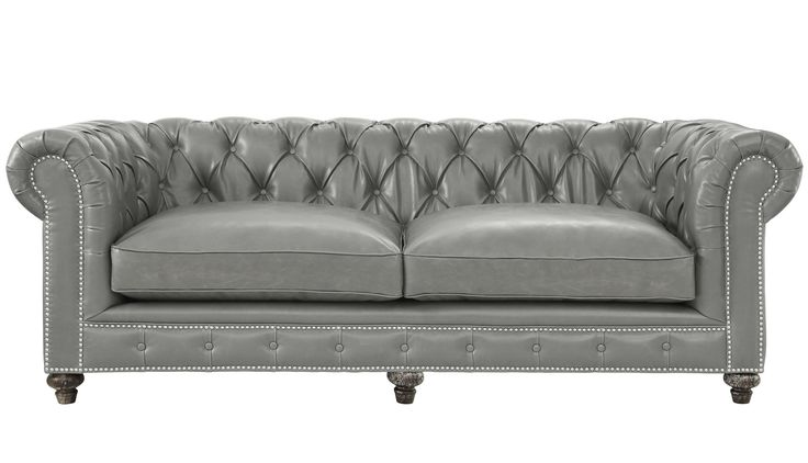 Our version of the classic Chesterfield design, the completely handmade Durango Antique Grey Leather Sofa offers rustic comfort for any space. Supported by a solid kiln dried wood frame and reclaimed