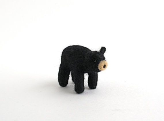 DIY Kit Black Bear Needle Felting Kit Needle by TheGreyWoods