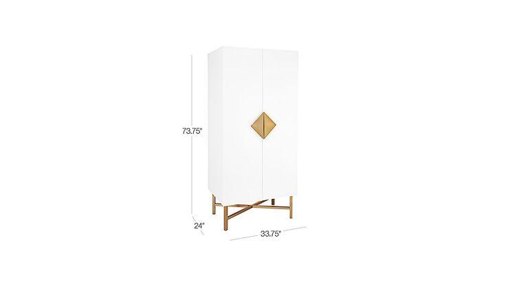 dimensions in photo  astoria white wooden wardrobe | CB2