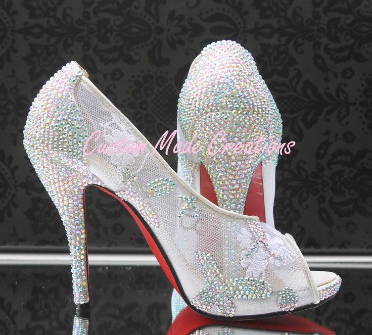 Do you want to feel like a princess?    These are not the originals & are completely customisable to suit your style.    This design is available on any of our shoe styles however if you are wanting the lace shoe (as pictured) heel height available is only 10 cm (outside heel measurement) & from sizes 5-10 Au  http://www.custommadecreations.com.au/collections/crystals-pearls-embellishment-heels/products/christian-louboutin-inspired-cinderella
