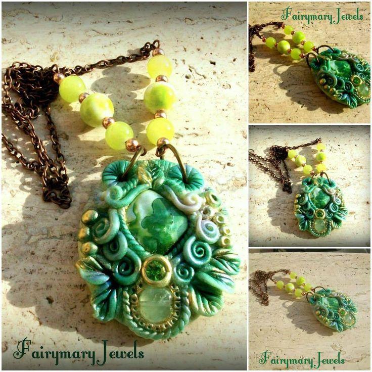 Fairy Lake  Una splendida madreperla e una perla in prenite impreziosiscono questo cammeo dai toni cangianti verde-turchese-oro https://www.facebook.com/pages/Fairymary-Jewels/208528805873162?sk=info&tab=page_info http://www.etsy.com/it/shop/FairymaryJewels?ref=si_shop