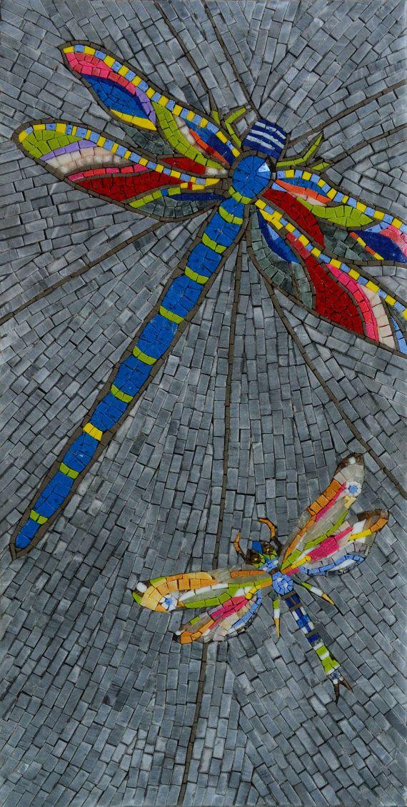 Dragonflies Handmade Mosaic Mural Wall Art MA442