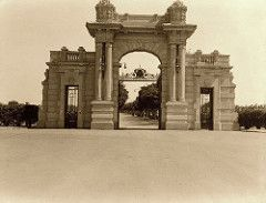 Vintage snapshot of the grand entrance Gate of the Royal Koubbeh Palace | Photo by Edith Matson | Cairo, Egypt 1934