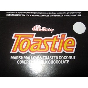 A box of 50 unwrapped Toastie bars. Each one weighs approximately 30g and is a superb mix of delicious toasted coconut and marshmallow covered in smooth Cadbury's Chocolate.    Available to buy online in Australia here - http://www.moolollybar.com.au/nz-chocolates/toastie-box-of-50.html