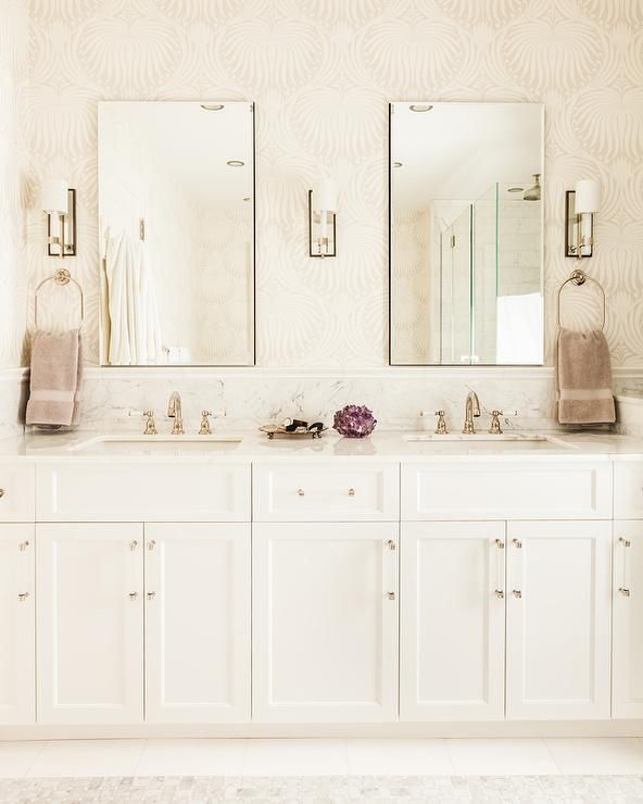 Nice Glamorous White And Beige Bathroom Features Walls Clad In Farrow U0026 Ball  Lotus Wallpaper Holding Two Idea