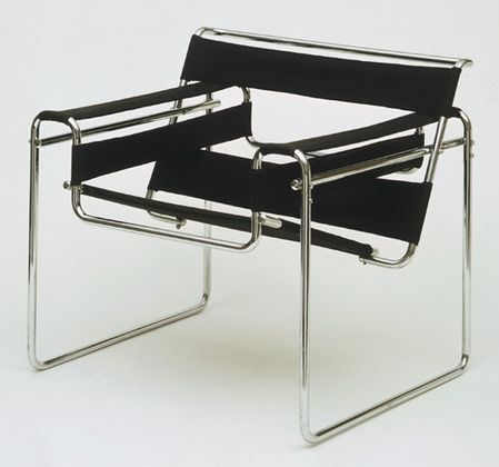 "Club chair (B3)  Marcel Breuer (American, born Hungary. 1902-1981)    1927–1928. Chrome-plated tubular steel and canvas, 28 1/4 x 30 3/4 x 28"" (71.8 x 78.1 x 71.1 cm). Manufactured by Standard Möbel, Germany. Gift of Herbert Bayer"