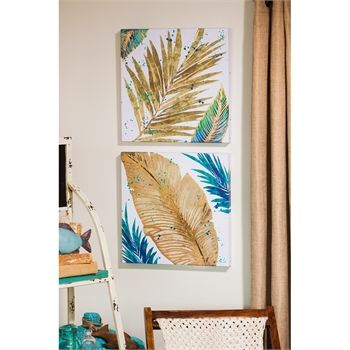 Set of 2, Foil Palm Leaves Indoor Canvas