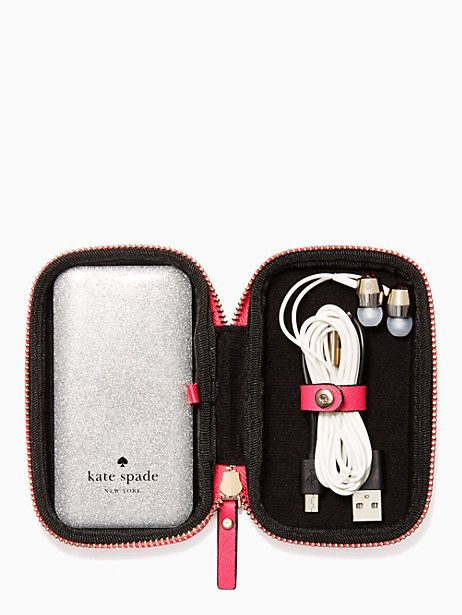 glitter ear buds and portable charger gift set | Kate Spade New York