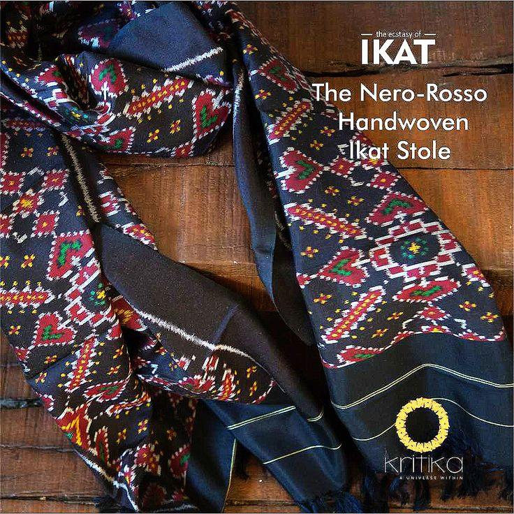 Nero-Rosso, colours of strength and vigor, combined with the elegance of fine traditional ikat patterns make this handwoven silk stole a Kritika favorite. Designed especially for men with an experimental style.