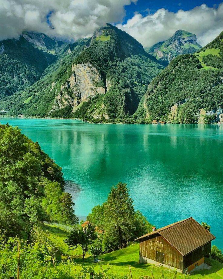 Evergreen canvas  Lake Lucern. Switzerland. Photo by @swissmonamour