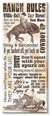Wrapped Canvas RANCH RULES, Daryl Poulin 30x12 Western Home Decor Horses Cowboys