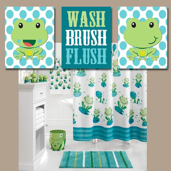 FROG Bathroom Wall Art CANVAS or Prints Frogs Child by TRMdesign (Diy Bathroom Wall)