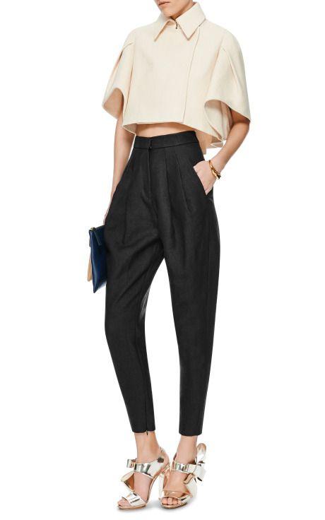 High-Waisted Pleated Woven Pants by DELPOZO - Moda Operandi
