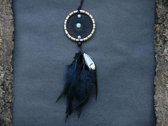 Black dream catcher car mirror charm rear view mirror decor dangle hippie boho feather accessory
