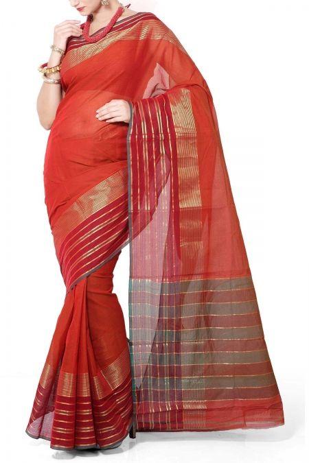 Rust & Red Self Coloured Cotton Mangalgiri Saree