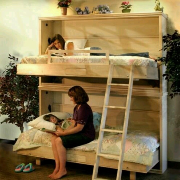 28 best images about bunk bed ideas on pinterest bunk - Bunk beds that fold into wall ...