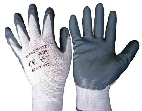 From 9.40 12 Pairs Of Nitrile Coated Nylon Work Gloves All Sizes (8 / Medium)