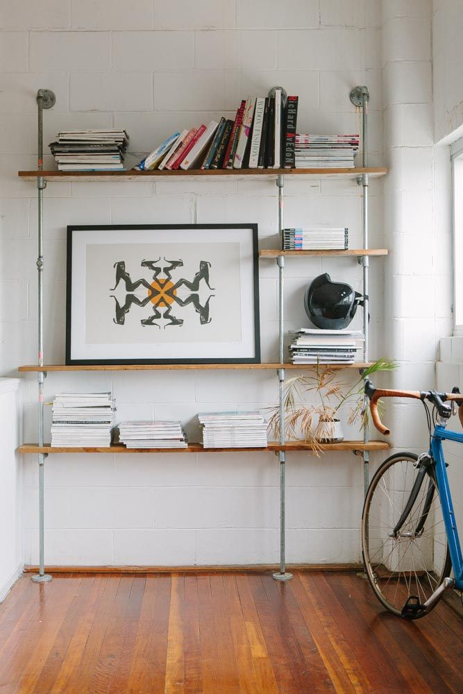 open shelves, galvanized pipe