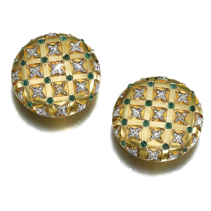 ROMANOV HEIRLOOMS: THE LOST INHERITANCE OF GRAND DUCHESS MARIA PAVLOVNA: A pair of jewelled gold cufflinks, maker's mark CS (Latin), St Petersburg, circa 1875, set with rose- and circular-cut diamond stars within a raised trellis set with cabochon emeralds.