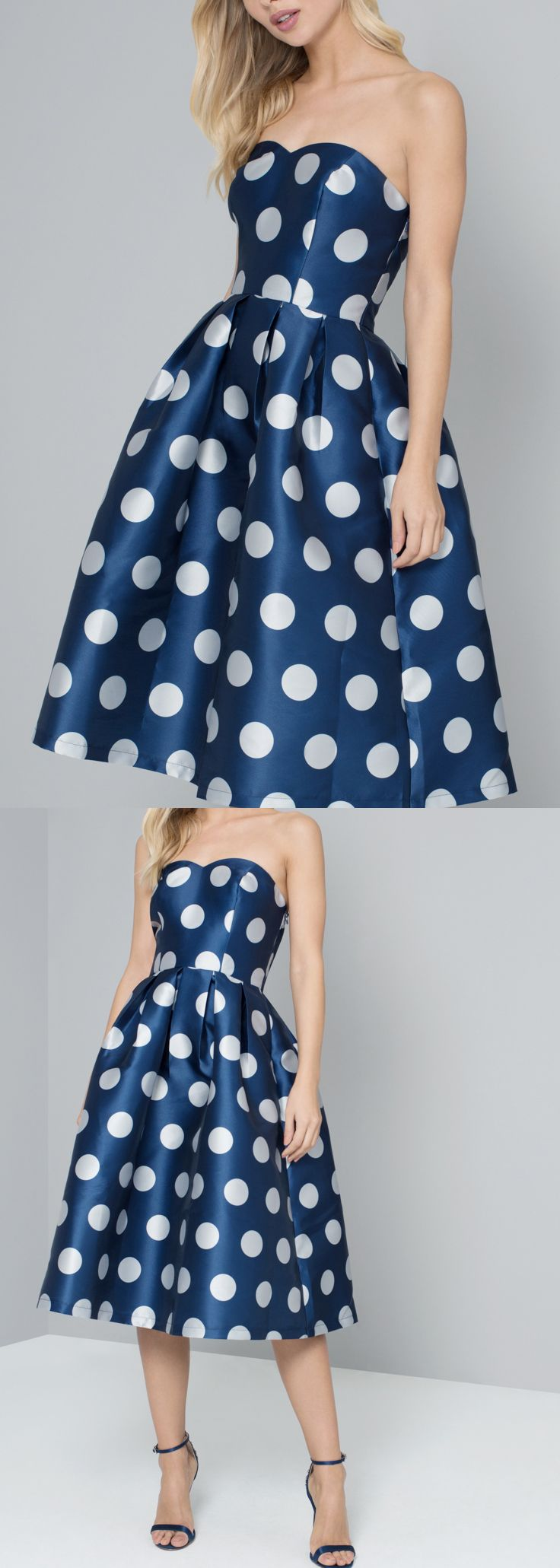 Go dotty this season with this polka dot print - features a fitted bandeau bodice with elasticated back, box pleat midi skirt and zip fastening from Chi Cli London. Polka Dot Fashion. What to wear to spring wedding, wedding guest outfits. What to wear to the races. Polka Dot Dress for Royal Ascot. #weddings #polkadotdress #dresses #fashion #fashionista #SS18 #2018 #newseason #polkadots #affiliatelink #chichi #outfits #mididress