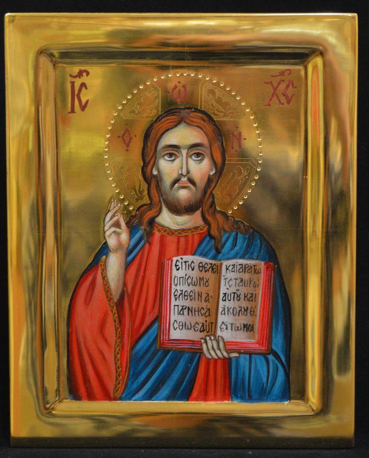 Orthodox Icon Handmade Handpainted Byzantine 24K GOLD Jesus Christ ATHOS Style