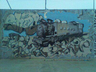 Graffitti hecho en Borja (Zaragoza) España, Recordando al tren que había en Borja a mediados de 1950