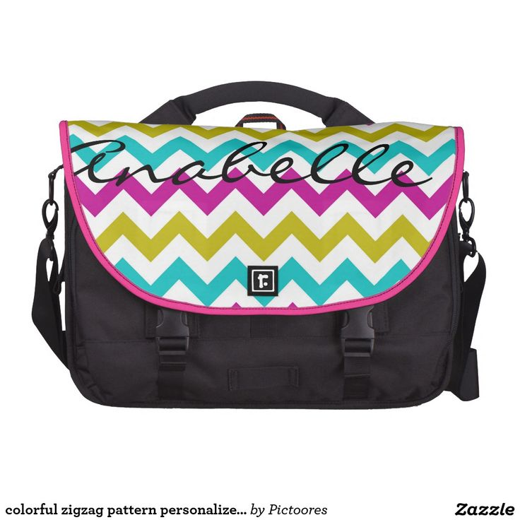 colourful zigzag pattern personalised by name laptop computer bag