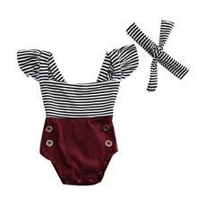 2017 Summer Newborn Baby Girl Clothes Striped Romper Baby Bodysuit+Headband 2PCS Outfits Sunsuit Children Clothes(China)