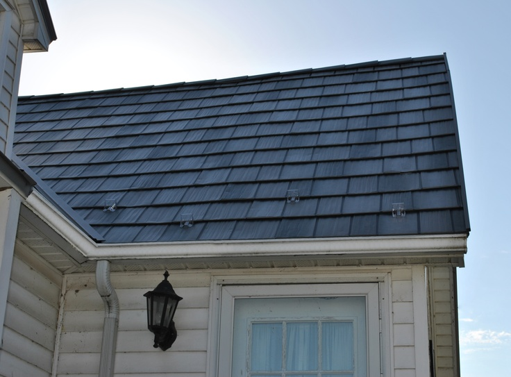 Side Angle View of Char Grey Shake Metal Roofing, Up Close!