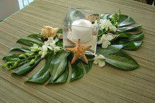 Beachy Centerpieces with Shells, Leaves, and Candles